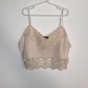 Topshop Lace Trim Creme Crop Top